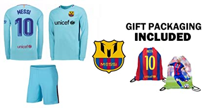 91f665a58b3 Barcelona Away Messi #10 Kids Long Sleeve Soccer Jersey and Shorts Youth  Sizes (YM