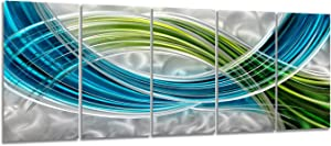 Yihui Arts Abstract Metal Wall Art, Abstract Green Sculpture Decor 3D Wall Art for Modern and Contemporary Decor, 5-Panels 24