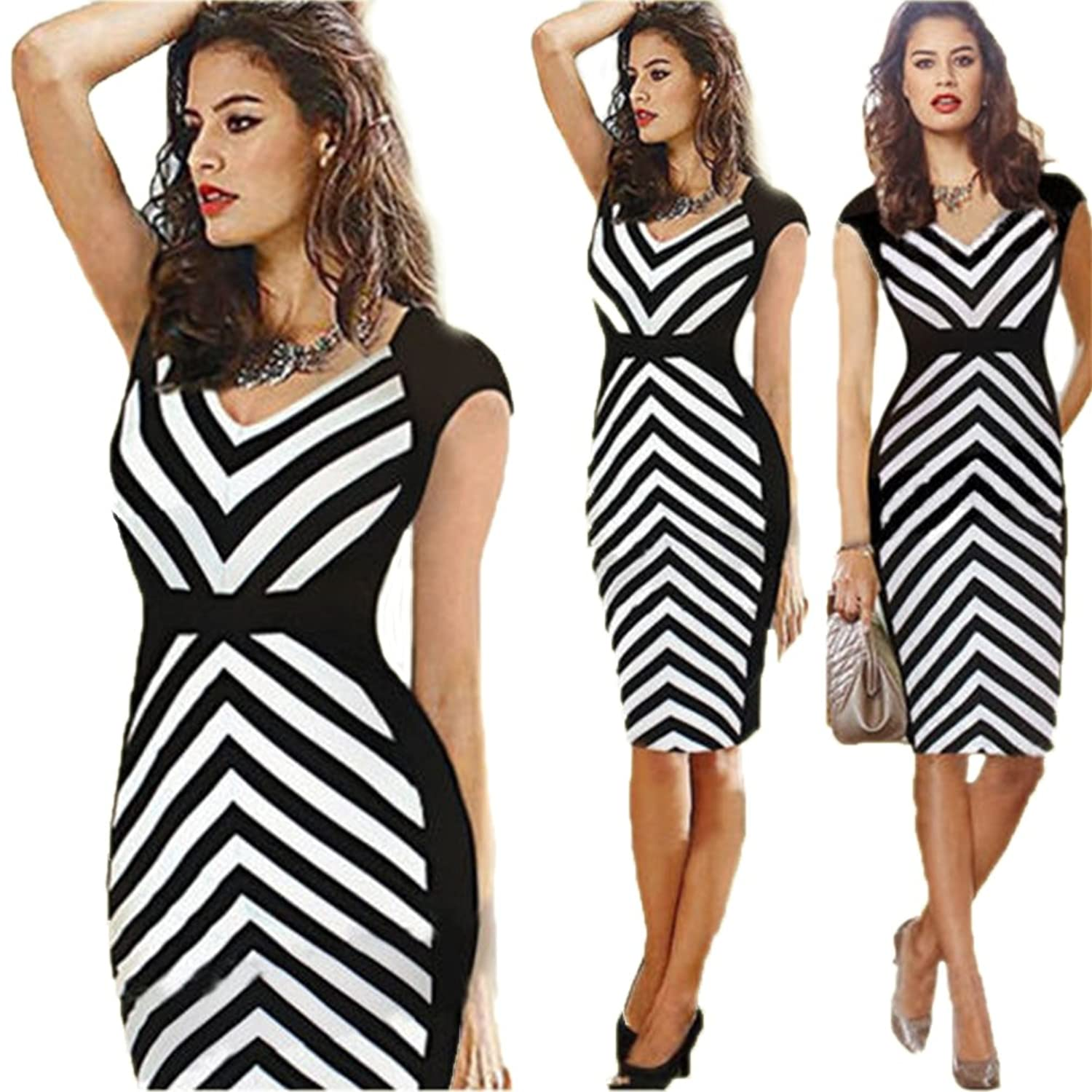 LifeWheel Mode Occupational Rock Striped Dekoration Kleid