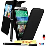 HTC One M9 Premium Leather Black Top Flip Wallet Case Cover Pouch + 2 IN 1 Ball Pen Touch Stylus Pen + RED 2 IN 1 Dust Stopper + Screen Protector & Polishing Cloth SVL6 BY SHUKAN®, (FLIP BLACK)
