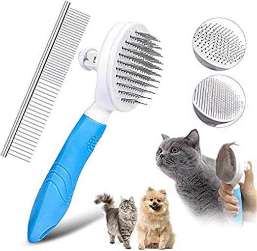 Amazon Com Kissbelly Self Cleaning Pet Hair Slicker Brushes With Thick Fine Pin Dog Cat Comb Fur Removal Hair Shedding Grooming Tool For Short Long Hair Blue