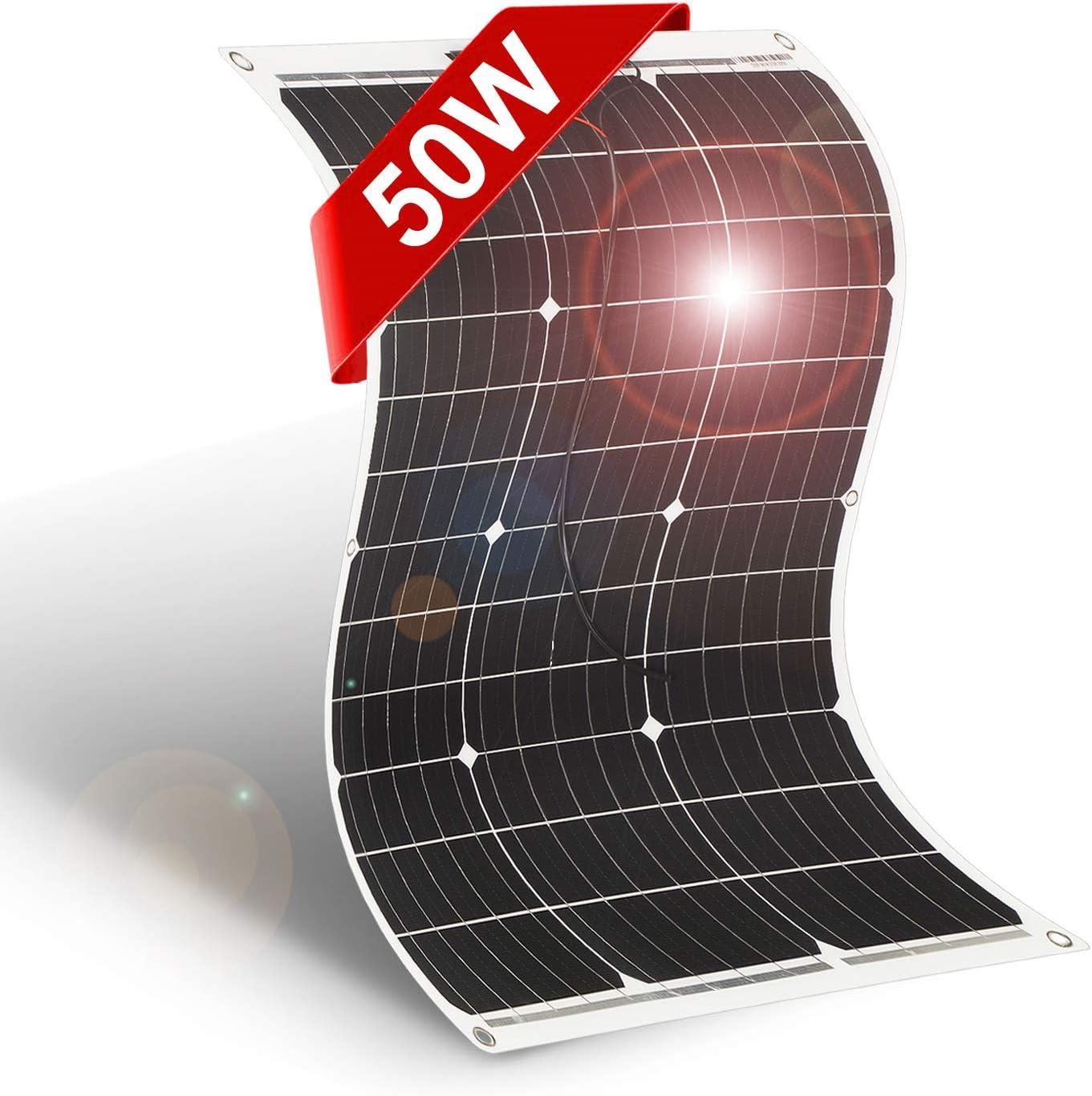 DOKIO Placa Solar Flexible Portatil 50W Solar Panel 12v para Autocaravanas Viajeros jardin