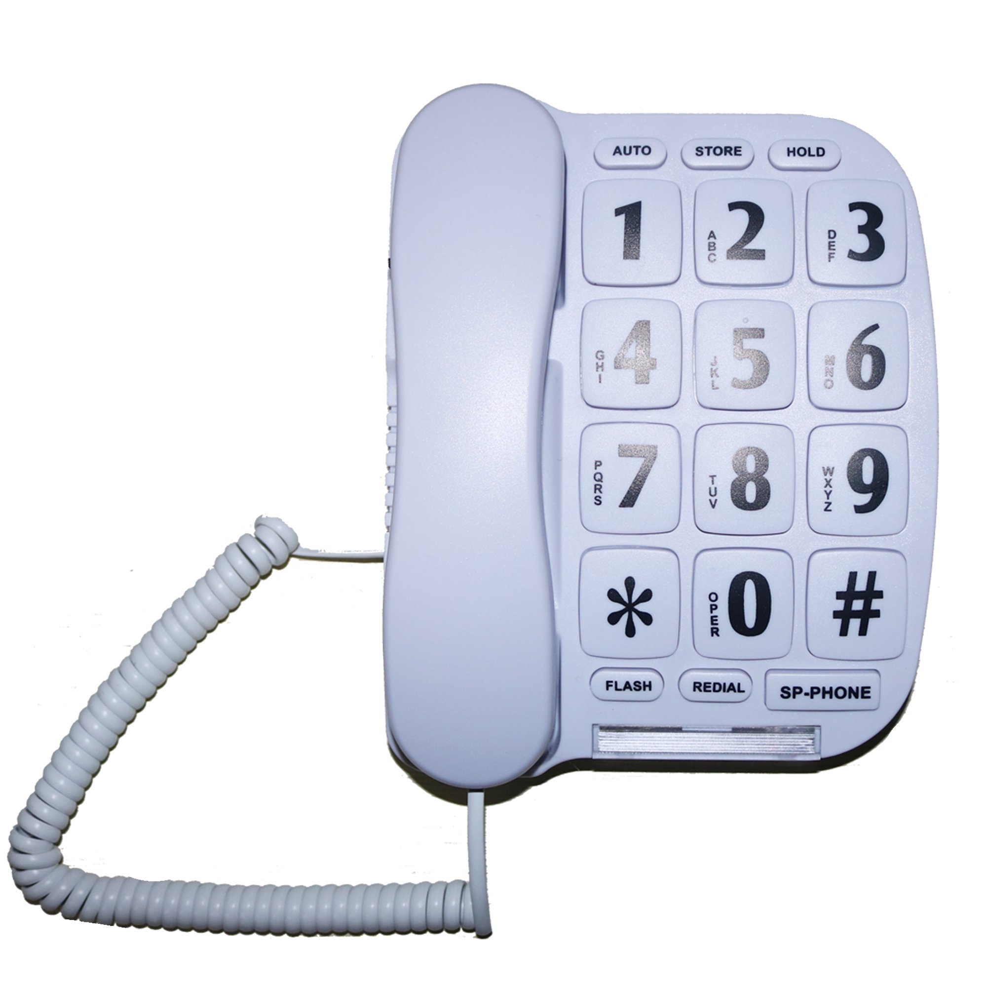 MegFong MF-11W Extra Large Button Phone for Elderly Senior Amplified Corded Phone with Loud Handsfree Speakerphone Perfect for Hearing Impaired
