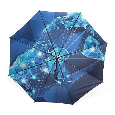 kisy technology enthusiasts umbrella windproof compact nave blue 3d technology world map fashion folding travel rain