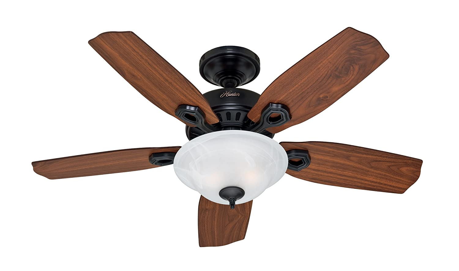 Hunter 28707 Auberville 44 Inch Single Light 5 Blade Ceiling Fan Black With Walnut Cherry Blades And Swirled Marble Glass Bowl Com