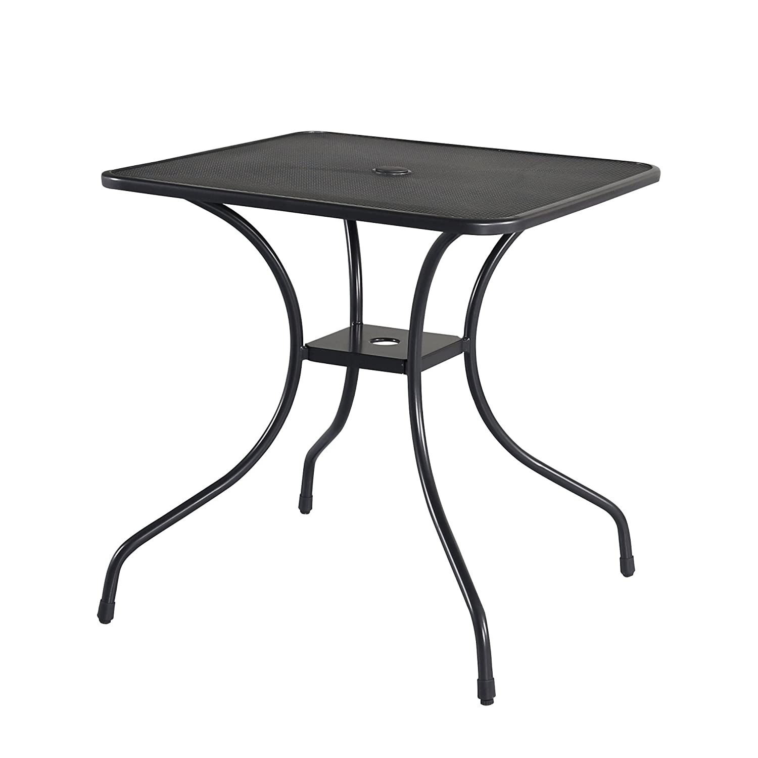 "Cloud Mountain 28"" x 28"" Outdoor Dining Table Square Patio Bistro Table Powder-coated Steel Frame Top Umbrella Stand Deck Outdoor Garden Table, Ash Black"