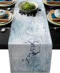 IDOWMAT Linen Burlap Table Runner Dresser Scarves 13 x 90 Inch, Light Blue Marble Kitchen Table Runners for Farmhouse Dinner, Holiday Parties, Wedding, Events, Decor