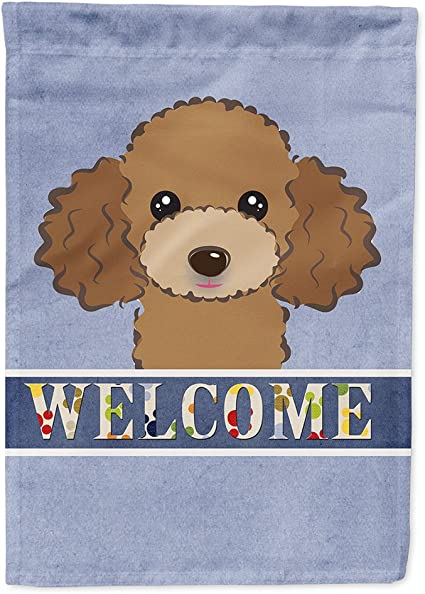Amazon Com Caroline S Treasures Bb1442chf Chocolate Brown Poodle Welcome Flag Canvas House Size Large Multicolor Garden Outdoor