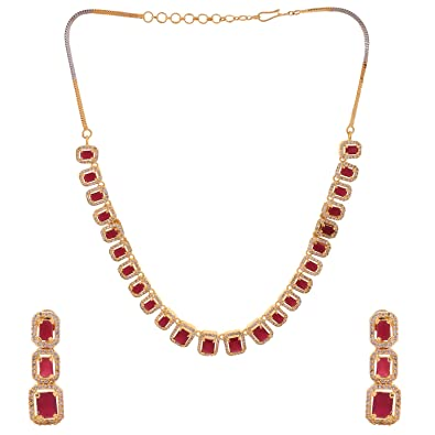 58646464f8 Buy Ratnavali Jewels American Diamond CZ Red Ruby Gold Plated Designer  Jewellery Set/ Necklace Set With Chain & Earring For Girls/Women (RV2335R)  Online at ...