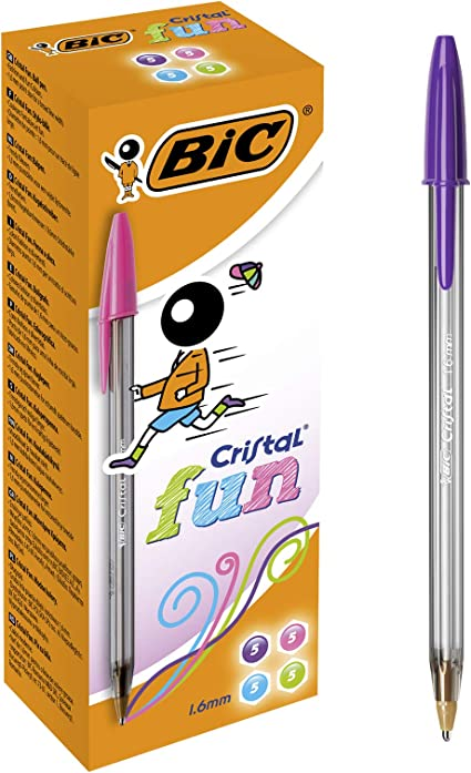 BIC Cristal Multicolour Stylos-Bille Pointe Large Couleurs Assorties 1, 6 mm