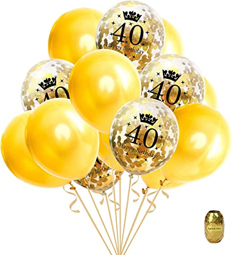 6 Navy /& Gold Geode Age 40//40th  Birthday Party Latex Balloons