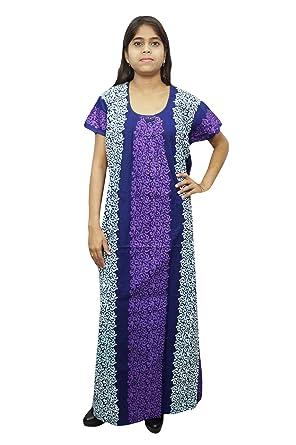 Indiatrendzs Women Cotton Nighty Purple Long Maxi Floral Design Nightdress a106c4a82