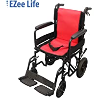 """EZee Life Aluminum Transport Wheelchair 18"""" Seat Width with 12"""" Rear wheels, Flip Back Arms, Dual Brakes"""