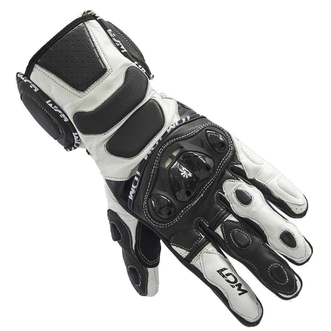 LDM Street-R Motorcycle Motorbike Race Leather Gloves Black White