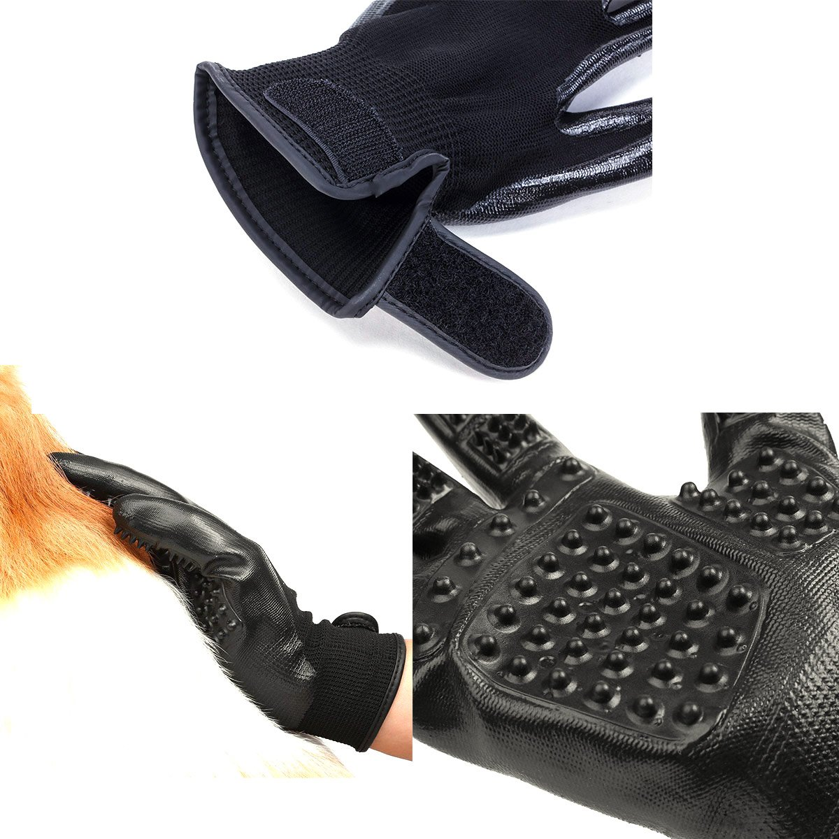 LibbyPet Pet Glooming Gloves for Cats and Dogs Hair Remover Deshedding Brush Glove Combing Massage for Long & Short Fur – Left & Right Hand (Black-S) by LibbyPet (Image #6)