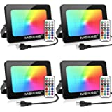 MEIKEE 4 Pack 35W RGB LED Flood Lights, Color Changing Flood Light with Remote Control, Indoor Outdoor IP66 Waterproof Colore