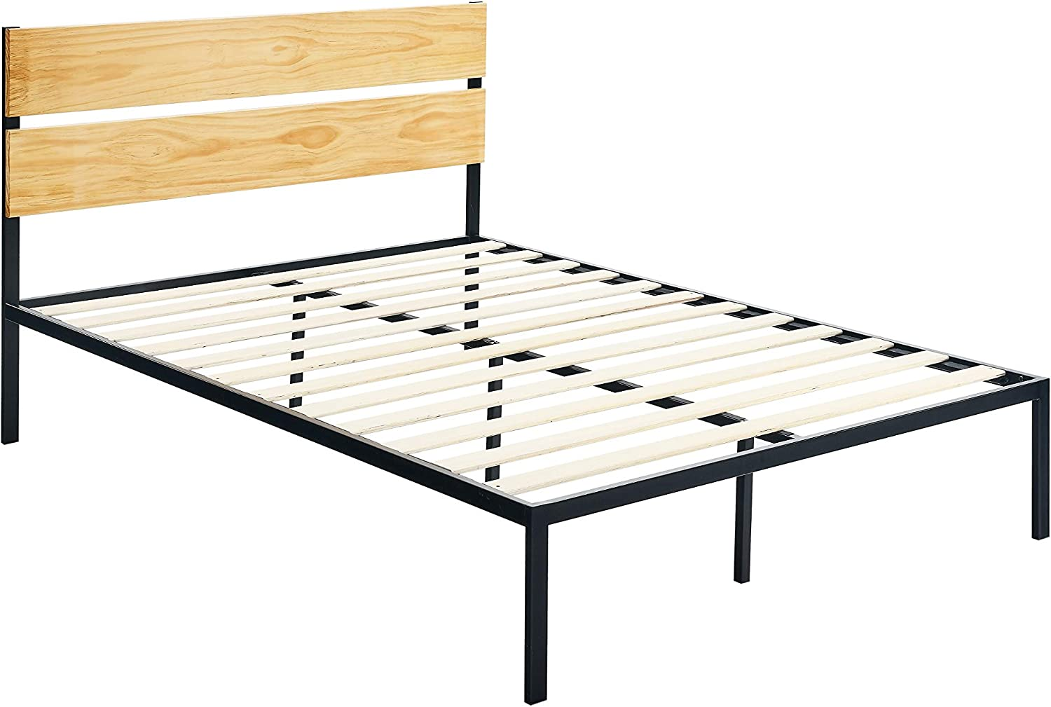 AmazonBasics Arielle Metal and Wood Platform Bed with Headboard - Wood Slat Support, Queen