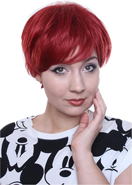 Prettyland C514 Short Hair Wig Pixie Fringed Cut Layered Straight Hair For Women Men Red Amazon Co Uk Beauty