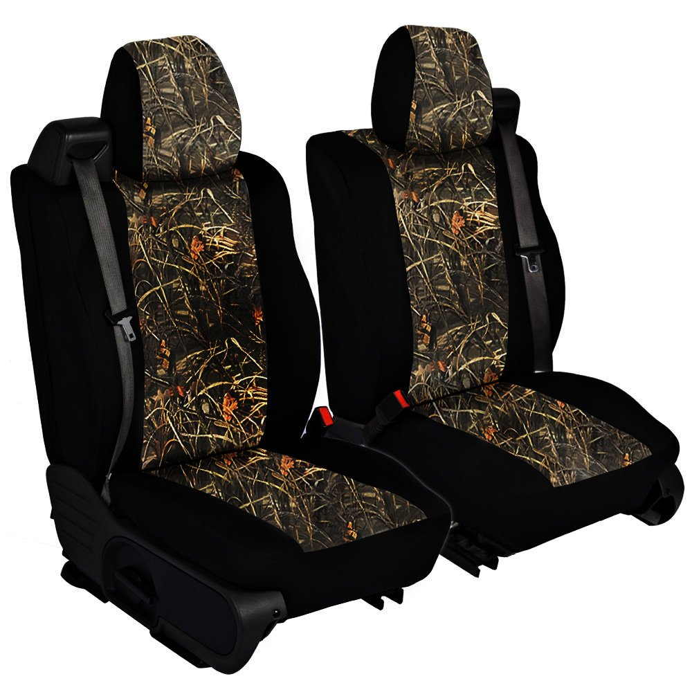 CarsCover Custom Fit 2004-2008 Ford F150 Pickup Truck Wetsuit Neoprene Car Front Seat Covers Camo and Black Sides Driver & Passenger Cover Real Maple Forest Tree Leaf Camouflage Covers by CarsCover