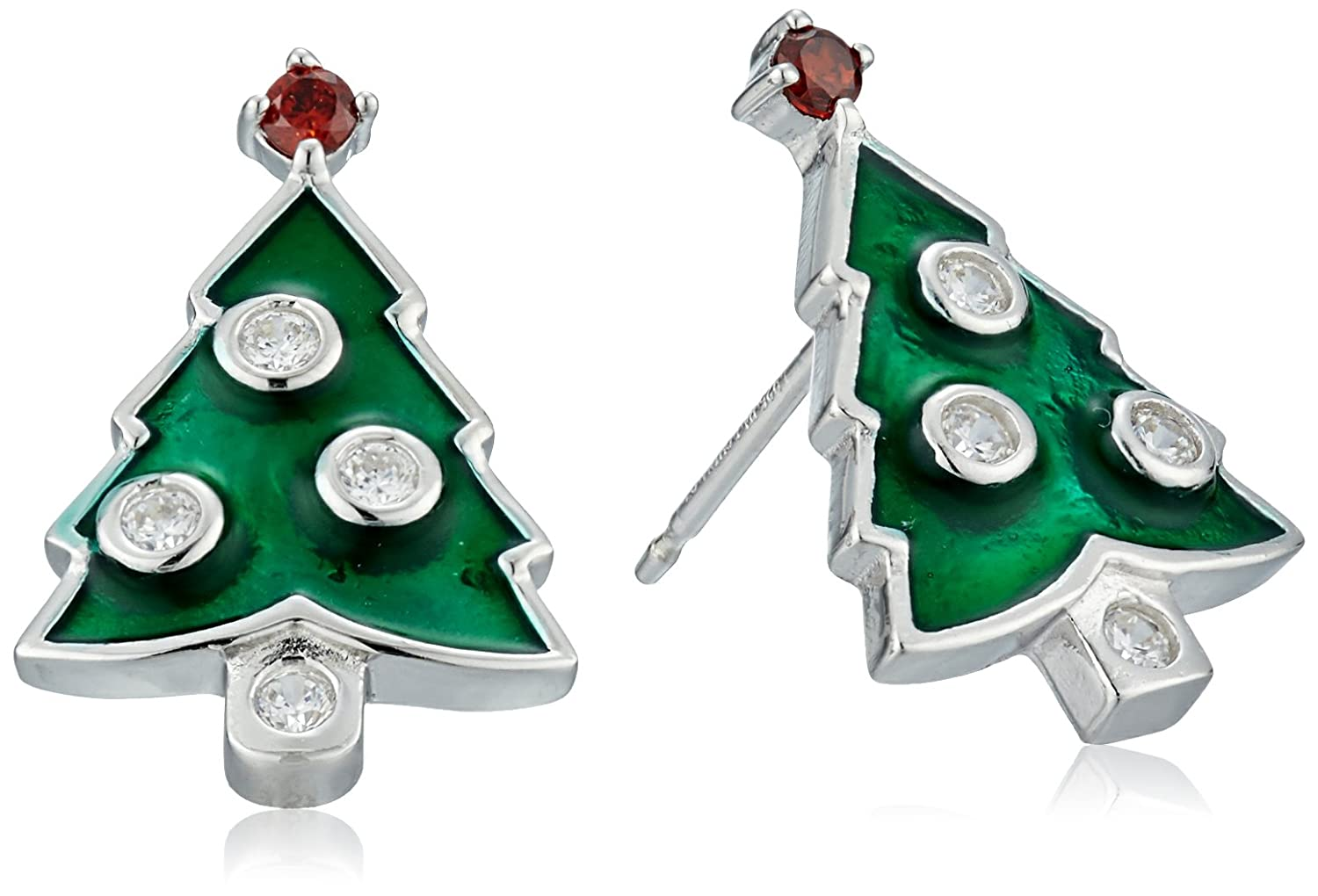 Rhodium Plated Sterling Silver Red and White Cubic Zirconia Christmas Tree Stud Earrings