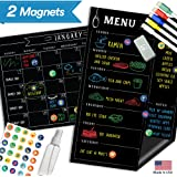 """Magnetic Menu Board Fridge Calendar - 17"""" x 11"""" - Large Reusable Meal Chalkboard - Dry Erase Weekly Monthly To Do Chore Reminder Shopping - 2018 Kitchen Gift Set - Best Supplies For Smart Planner"""