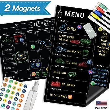 "Pizarra magnética de menú frigorífico calendario – 17 ""x 11"" – gran reutilizable"