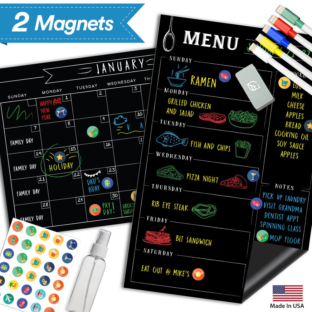 Magnetic Calendar for Fridge Chalkboard - Weekly & Monthly Black Dry Erase Refrigerator Board - 2018 Kitchen Menu Planner - 17'' x 11'' by Lushleaf Designs (Image #1)