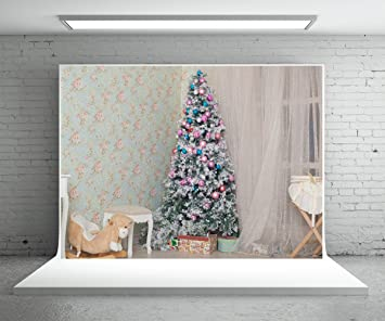 5x7 Ft Pink Christmas Tree Background White Curtain Wood Floor Photography Backdrop Photo Booth Props