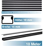 SCOS Smartcosat SCOSKK197 10 m Kabelkanal (L x B x H 2000 x 15 x 10 mm, PVC, Kabelleiste, Selbstklebend) graphit-schwarz
