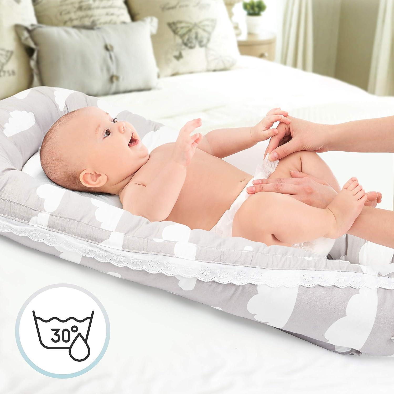Portable Oreiller de Coussin Respirant. Reducteur de Lit Bebe Cocon Housse Amovible /& Lavable 100/% Coton Baby Nest chuckle Nid B/éb/é Couffin de Voyage pour Nouveau-N/é /& B/éb/és