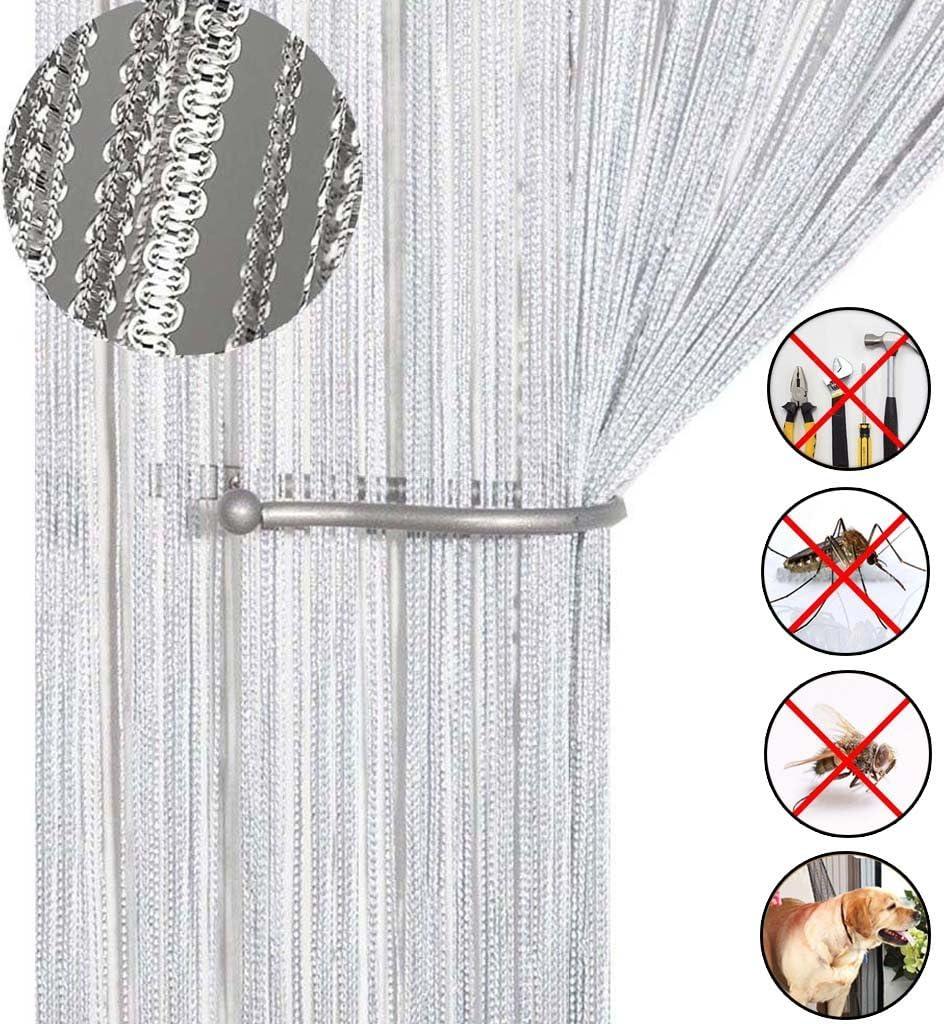 AIZESI- Cortina de tiras para puerta o ventana, protección contra insectos, moscas, panel divisor puertas o ventanas, tela, Blanco, 39