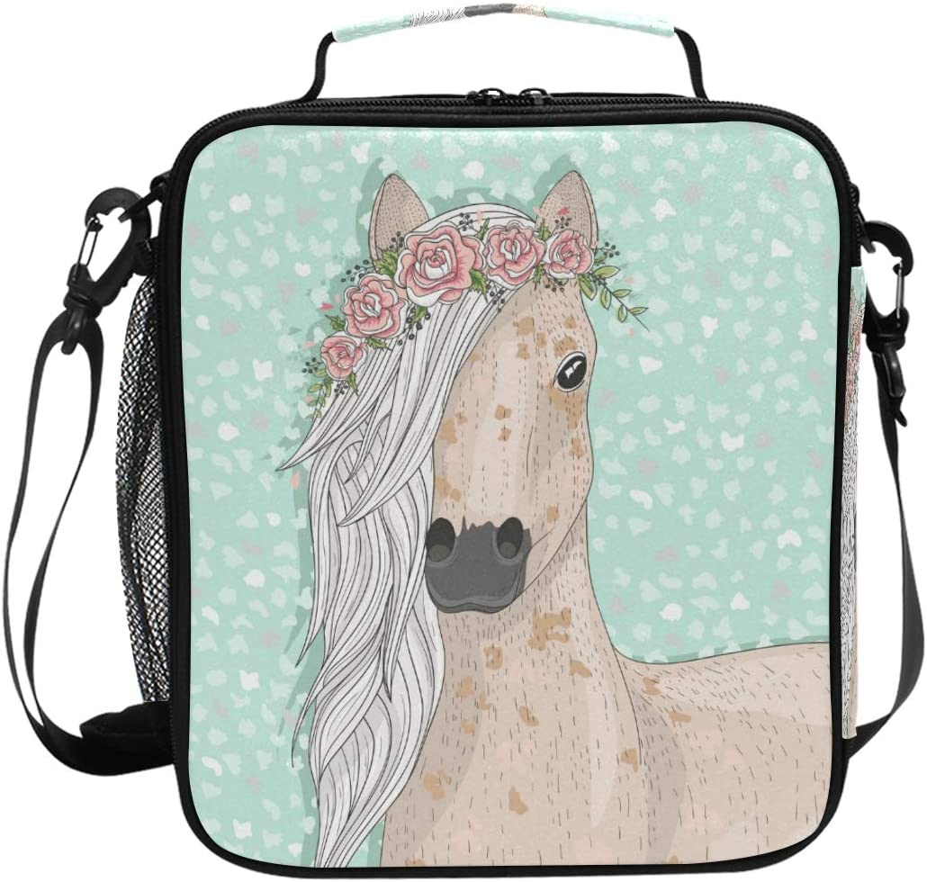 Cute Flower Horse Kids Lunch Box Cooler Insulated Lunch Tote Bag with Shoulder Strap for Boys Girls Womens