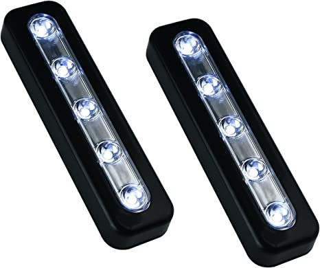 Silver Battery Powered LED Tap Light DIY Stick-on Anywhere 5-LED Tap Light Push Night Lamp for Closets Cabinets Hallway Cupboard Stairs Onerbuy Pack of 4