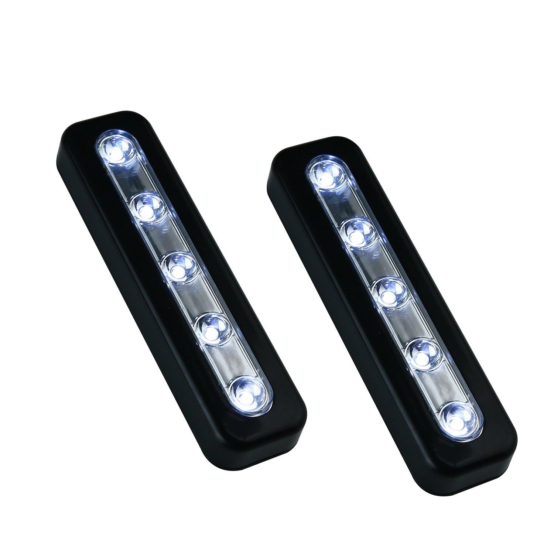 VILONG Super Bright DIY Stick-on Anywhere 5-LED Touch Tap Light Push Light, Car, Sheds, Storage Room,LED Night Light(2 Pack) (Black)