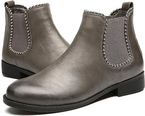 gracosy Bottines Hiver Femmes, Chaussures Plates Ville Talons Plats Boots Chelsea Printemps Fourrure Bottes de Neige Intérieur Fourrée Velour