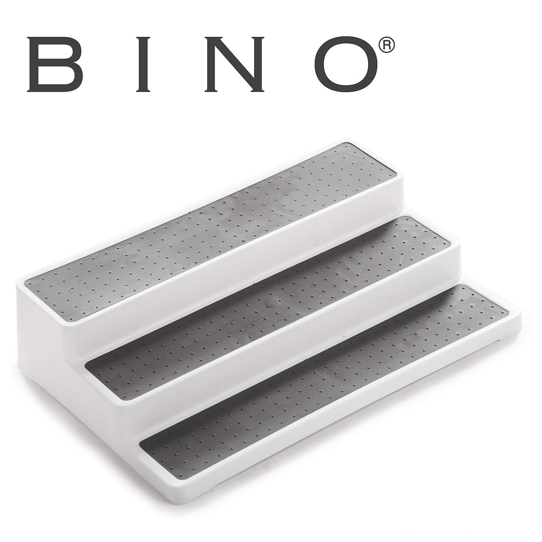 BINO 3-Tiered Spice Rack Organizer, White – Pantry Organization and Storage for Kitchen, Refrigerator, Freezer Spice Organizer