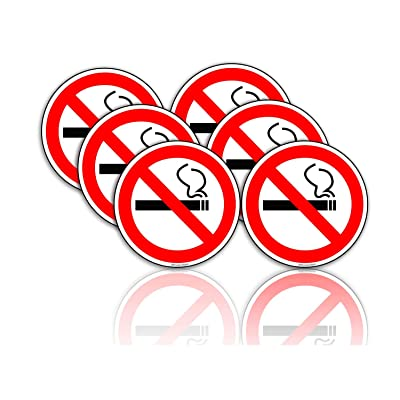 No Smoking Stickers Car Window Decal 2 in. Pack of 6- Ideal for Taxis, Rental Vehicles and Company Cars: Office Products
