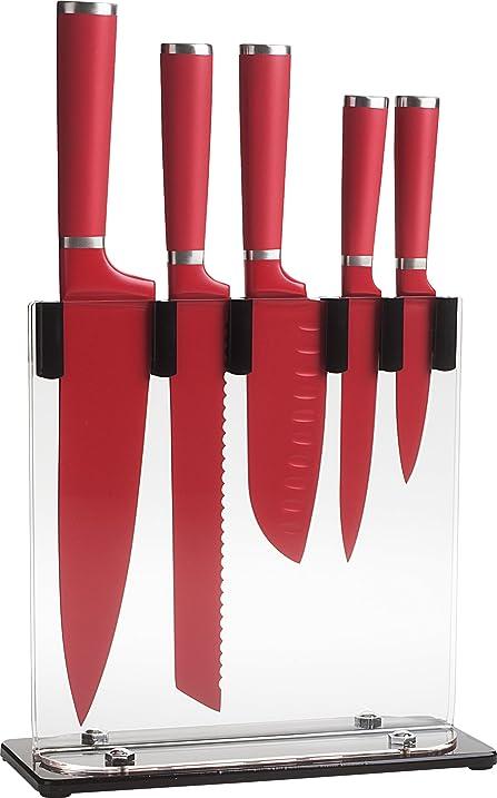 Trudeau 5 Piece Knife Block Set, Red