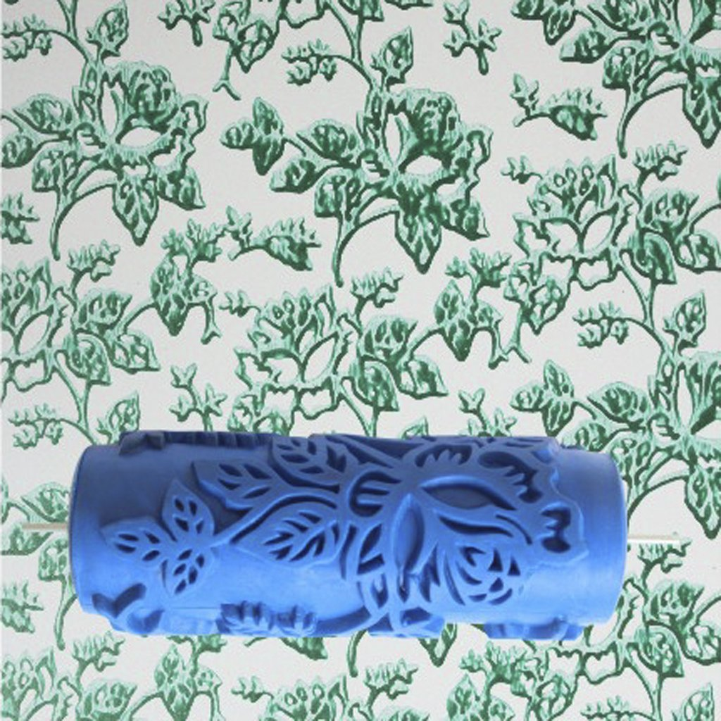 15cm Wall Empaistic Decoration Flower Pattern Painting Roller For  Decoration Machine   Blue     Amazon.com