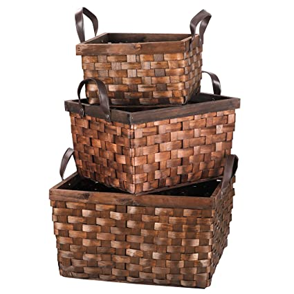 Amazon Com F2c Set Of 3 Wooden Wicker Rattan Woven Storage Box