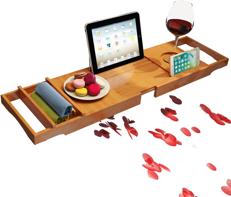 RoseFlower/® 70 x 15 cm Badewannenablage aus Bambus Badewanne Caddy Badewanne Tablett Badewannenbrett Dusch Organizer f/ür Buch f/ür das ultimative Verw/öhnerlebnis #2 Handys Halter eReader