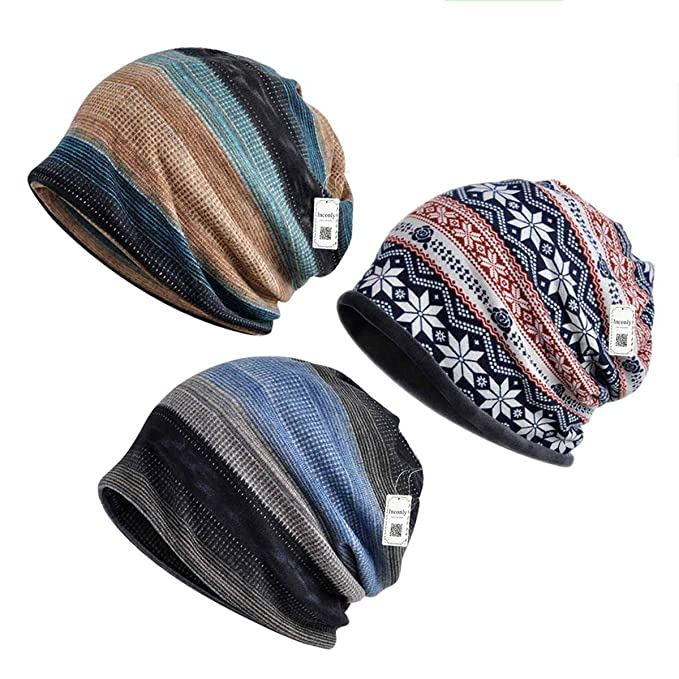 2f8882012 Inconly Chemo Caps for Women Chemo Beanies Women Men Cancer Sleep Hats 3  Pack