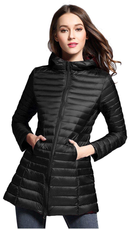 Elezay Women's Light Weight Down Jacket Hooded Coat Black 2XS