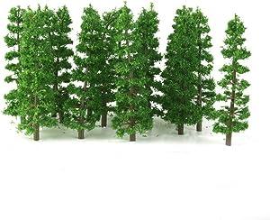 Vosarea 20pcs Train Scenery Landscape Model Fir Trees 1:100 Scale(Green)