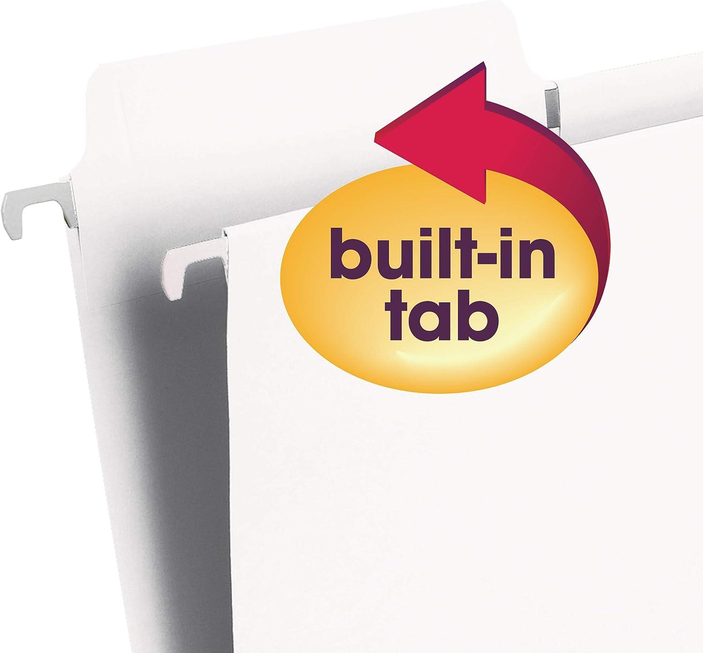 Smead FasTab Hanging File Folder Letter Size 1//3-Cut Built-In Tab Blue 20 per Box 64099