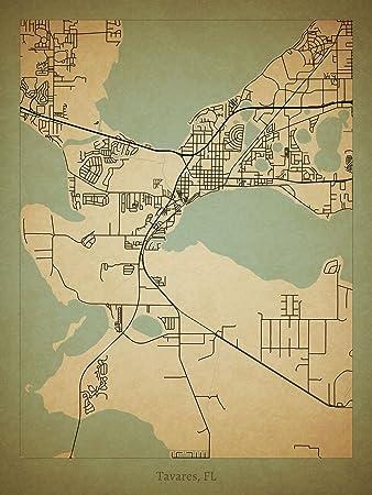 Map Tavares Florida.Amazon Com Tavares Fl Map Poster Posters Prints