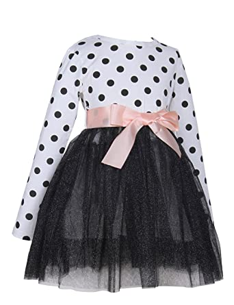 143ec477271 KYMIDY Girls Casual Dress Polka Dot Lace Tulle Long Sleeve Sweater Dresses  for Baby Kids Toddler