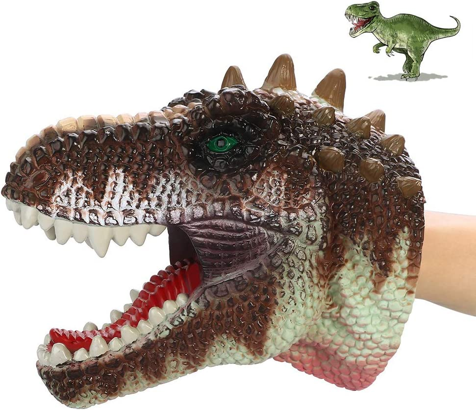COGO MAN 2020 Newest Dinosaur Hand Puppet , Dinosaur Puppet Rubber   Realistic Dinosaur Head Puppet   Lifelike Hand Puppet Toys   Role Play Toys for Kids and Adults, Emperor Tyrannosaurus