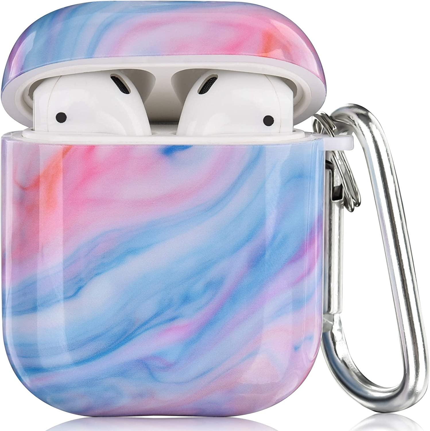 CAGOS Compatible with Airpods Case, 3 in 1 Cute Marble Protective Hard Case Cover Portable & Shockproof Women Girls with Keychain/Strap/Earhooks for Airpods 2/1 Charging Case (Lilac)