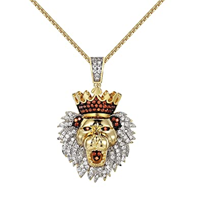 Amazon iced out king lion pendant lab diamonds 16 charm 14k iced out king lion pendant lab diamonds 16quot charm 14k gold finish stainless steel chain aloadofball Image collections